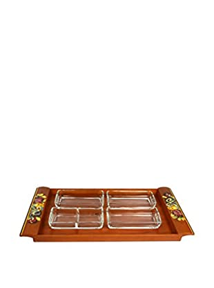 Uptown Down Previously Owned Set of 4 Glass Serving Dishes on a Painted Wood Tray
