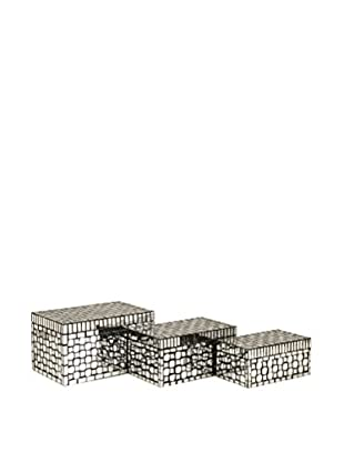 Set of 3 Foley Mirrored Mosaic Boxes