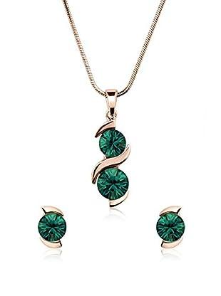 Annie Ram Set Halskette und Ohrringe grün