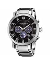 Akribos Grandiose Chronograph Black Dial Stainless Steel Mens Watch Ak622Ssb