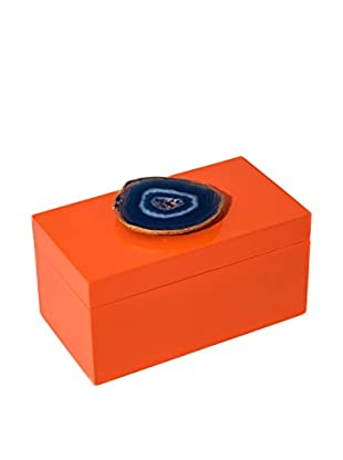 Mapleton Drive Orange Lacquer Box with Blue Agate
