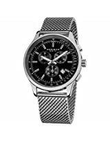 Akribos Black Dial Chronograph Stainless Steel Mens Mens Watch Ak625Ssb
