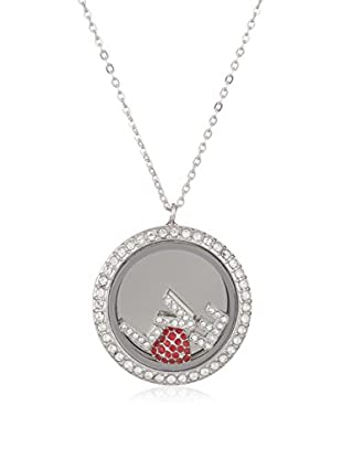 Swarovski Set Halskette und Anhänger  rot/silberfarben