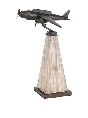 Metal & Wood Airplane Sculpture