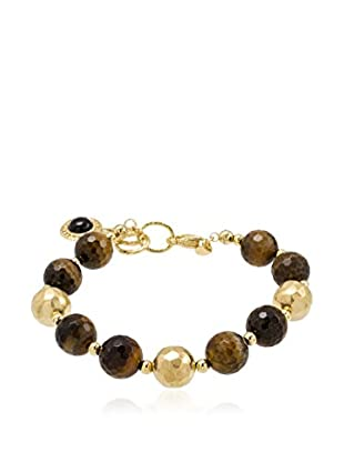 Etrusca Collar Etruscared Tiger Eye Faceted Bead plata de ley 925 milésimas / Amarillo