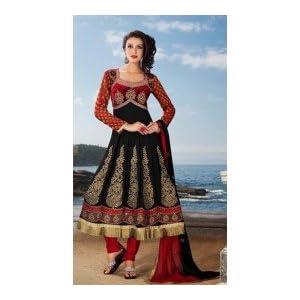 Black & Red Georgette with Resham,Zari,Sequince,Lace Work Unstitched Anarkali Salwar Kameez Suit