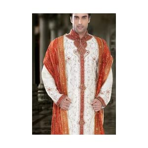 Off White Dupion silk Sherwani