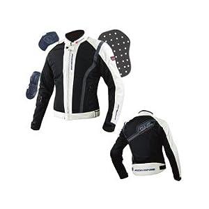 【クリックで詳細表示】コミネ(KOMINE) 07-027 ハーフメッシュジャケット SUONO シャイニーブラック/アイボリー 3XLサイズ