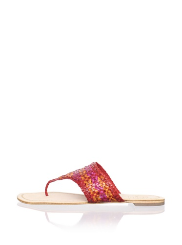 Plenty by Tracy Reese Women's Elene Thong Sandal (Red/Fuchsia/Orange)