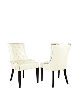 Safavieh Set of 2 Ashley Side Chairs, Flat Cream