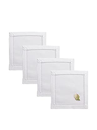 Henry Handwork Set of 4 Green Tulip Seashell Embroidered Cocktail Napkins, White