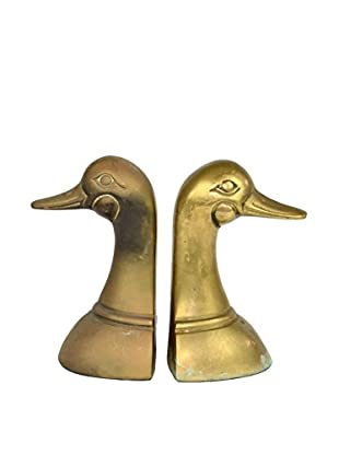 Uptown Down Previously Owned Set of 2 Brass Duck Bookends