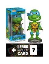 Leonardo Bobble Head Figure TMNT x Wacky Wobbler Series 1 FREE icial classic TMNT Trading Card Bundle