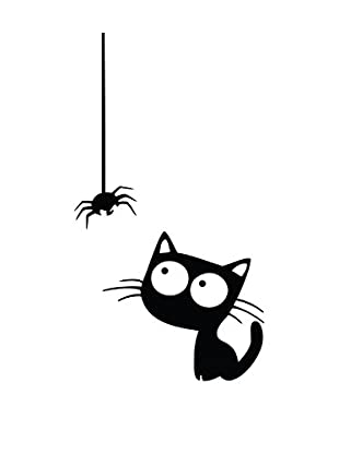 Ambiance Sticker Wandtattoo Funny Cat And Spider