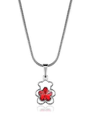 Absolute Crystals Set Kette und Anhänger Flower Bear silberfarben/rot