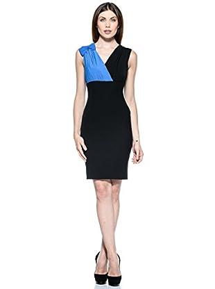 Annarita N Vestido Nastro (Negro / Azul Eléctrico)