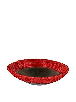 Asian Loft Hand-Woven Grass Wicker and Clay Fruit Bowl, Yellow/Orange/Black