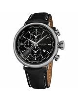 Akribos Chronograph Black Dial Black Leather Mens Watch Ak629Bk