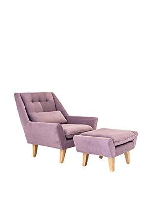 Kardiel Stuart Mid-Century Modern Lounge Chair and Ottoman, Orchid