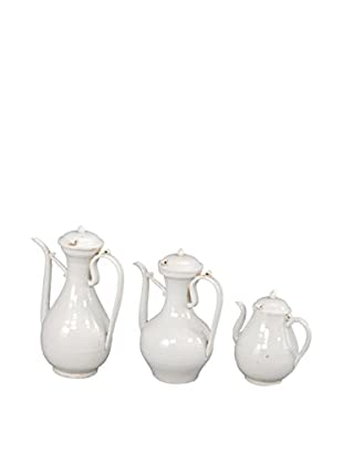 Set of 3 White Porcelain Wine Ewers
