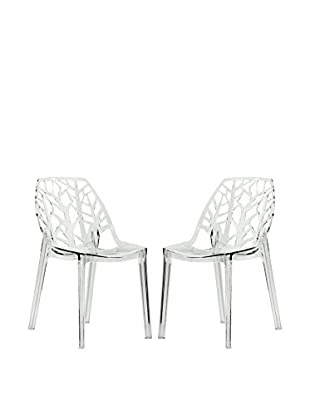 LeisureMod Set of 2 Modern Cornelia Dining Chairs, Clear