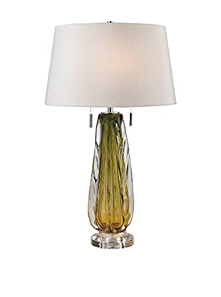 Artistic Free Blown Glass Table Lamp, Green