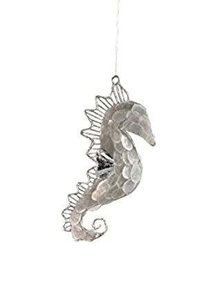 Capiz And Wire Seahorse Ornament, Silver
