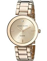 Anne Klein Women's Rose Gold tone-Diamond-Accented Bracelet Watch