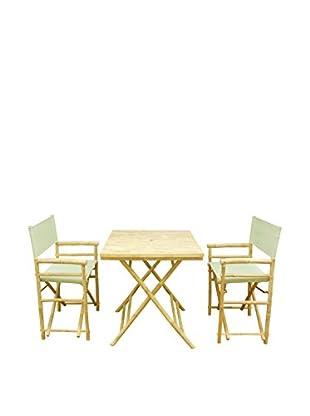 ZEW, Inc. Square Table & Director Chair Set, Celadon