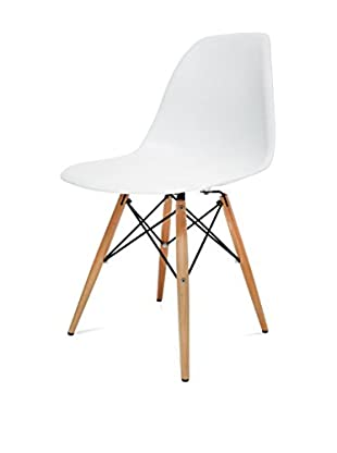 Manhattan Living Wood Leg Dining Side Chair, White