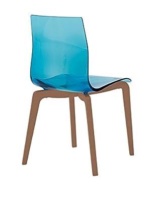 Domitalia Gel Chair, Transparent Blue/Brown