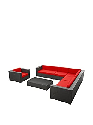 Modway Palm 7-Piece Outdoor Patio Sectional Set (Espresso/Red)