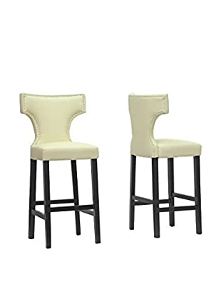 Baxton Studio Set of 2 Hafley Modern Bar Stools, Beige