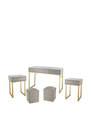 Artistic Beaufort Point 5-Piece Shagreen Furniture Set, Gold/Grey