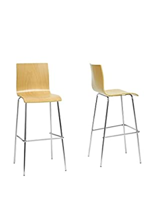 Baxton Studio Set of 2 Sydney Plywood Bar Stools, Natural