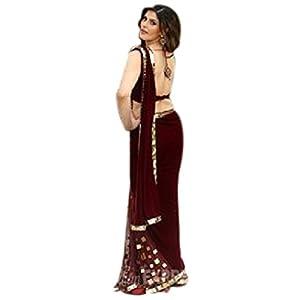 Zarine Khan Deep Red Half & Half Bollywood Replica Saree