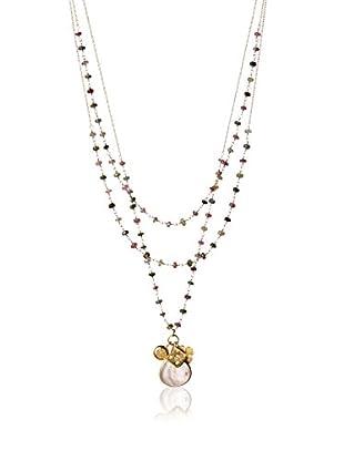 Wendy Mink Triple Strand Watermelon Tourmaline Rosary- Gold Charm Necklace