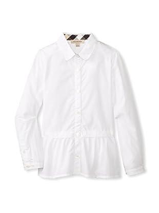Burberry Kid's Ruffle Hem Button-Up Shirt