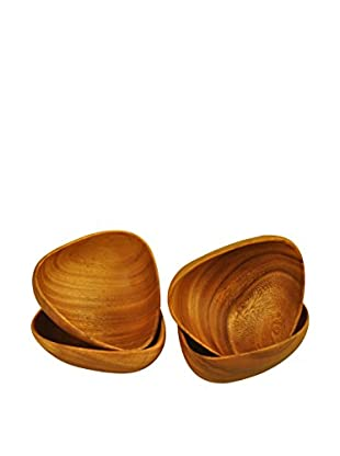Pacific Merchants Acaciaware Set of 4 Bermuda Bowls