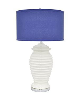 Three Hands Ribbed Ceramic Lamp, White/Blue
