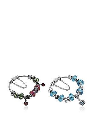 Diamond Style Armband-Set Aval marine/violett