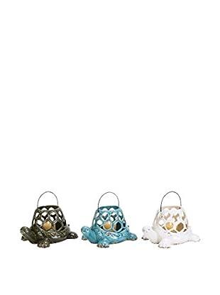 Set of 3 Ceramic Turtle Lanterns, Multi