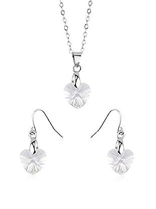 Shiny Cristal Conjunto de cordón y pendientes  plata de ley 925 milésimas rodiada