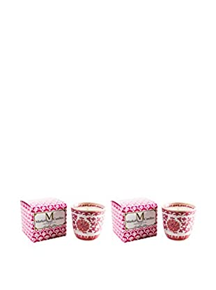 Market Street Candles Set of 2 Rose Scented Shanghai Lotus Candles, Pink