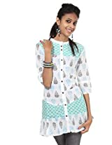 Rajrang Cotton Kurti - PTP00110 (Green And White)