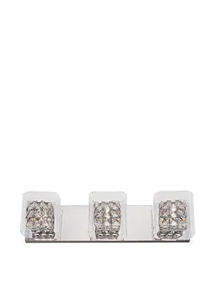 Bel Air Lighting Block Crystal 3-Light Vanity, Crystal-Chrome