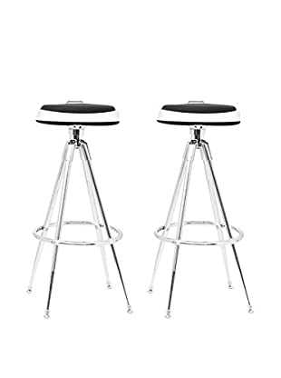 Manhattan Living Set of 2 Sculpt Bar Stools, Black