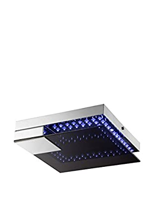 Lite Source Kelcy LED Square Flush Mount, Chrome/Smoke