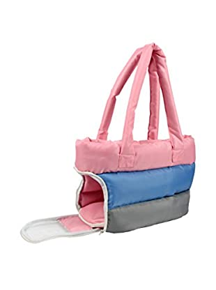 Pet Life Bubble-Poly Tri-Colored Insulated Pet Carrier, Pink/Blue/Grey, Medium