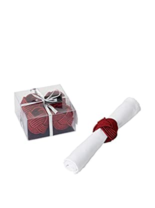 Torre & Tagus Set of 4 Red Woven Knot Napkin Rings